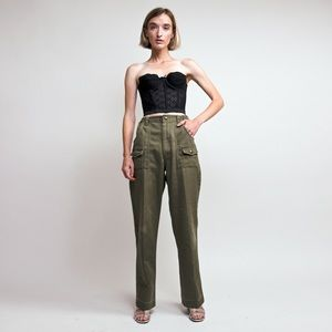 Vintage 80s army green high waist Boy Scout pants